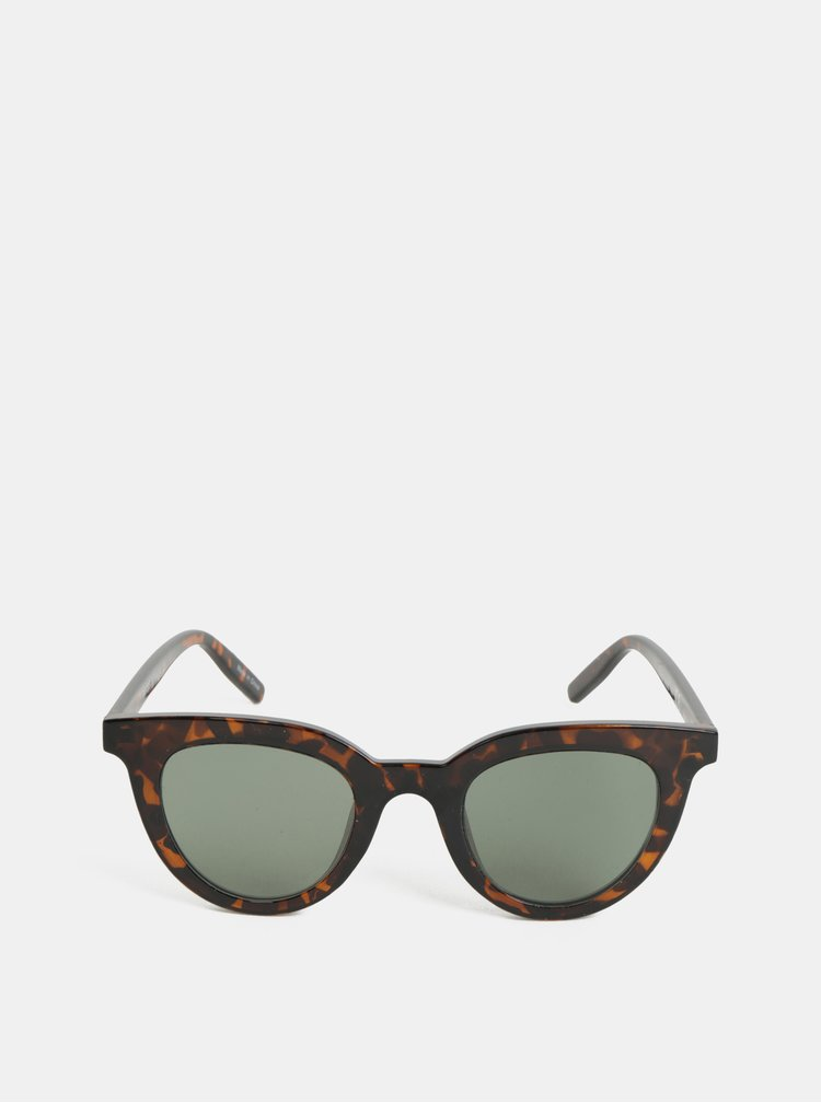 Tmavě hnědé vzorované sluneční brýle Pieces Bella