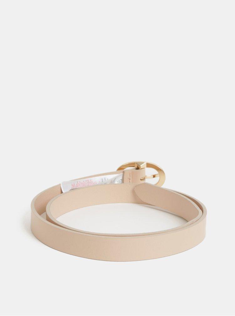 Světle růžový kožený pásek Pieces Cana