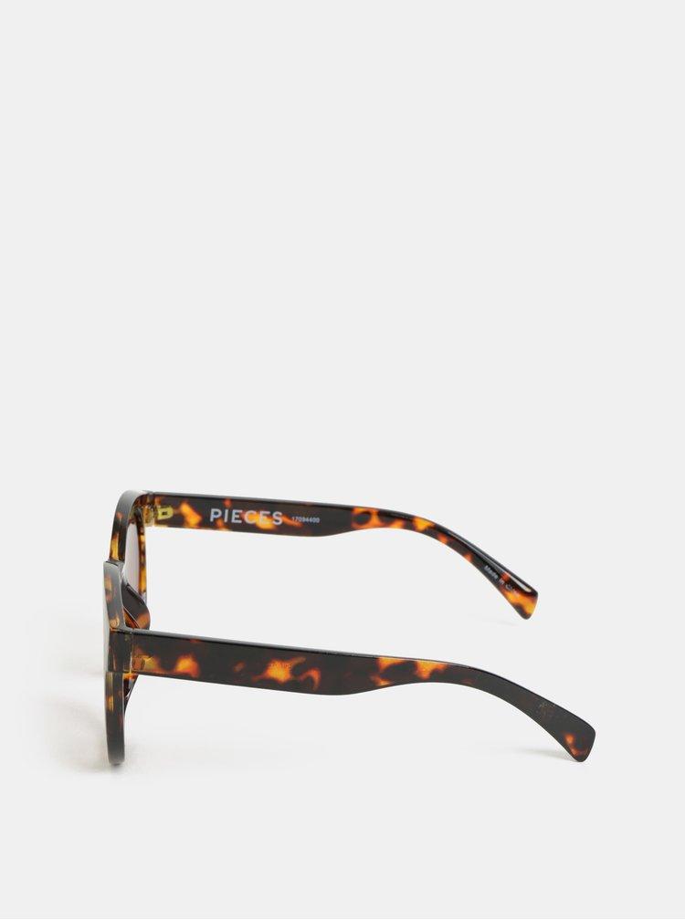 Hnědé vzorované sluneční brýle Pieces Beate