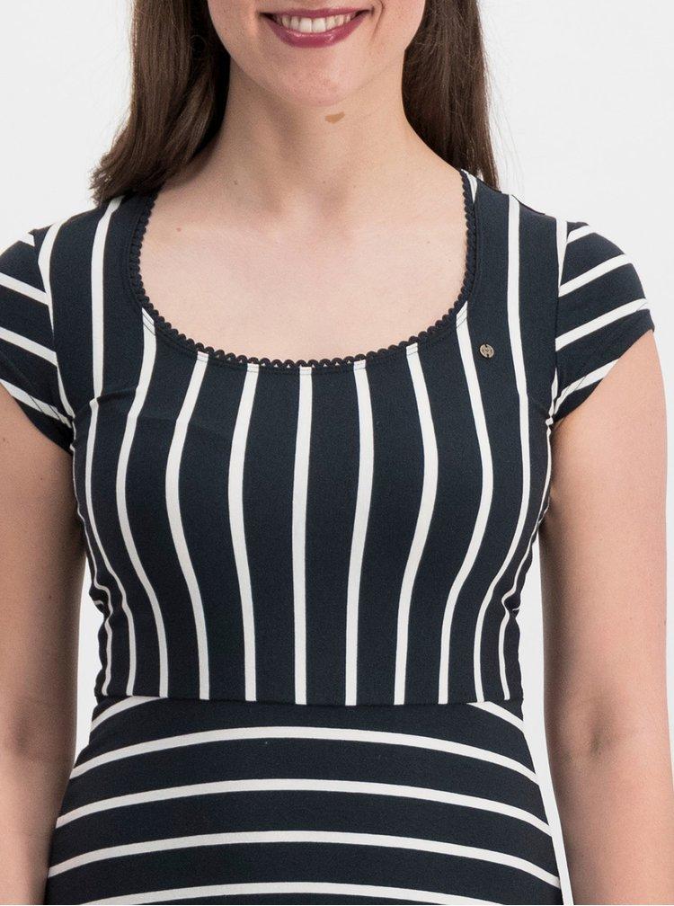 Černé pruhované šaty Blutsgeschwister Logo Stripe