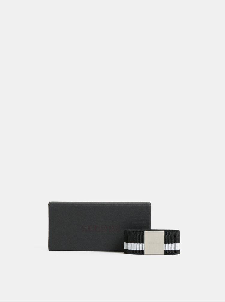 Černá  pruhovaná gumička na hliníkové pouzdro Secrid