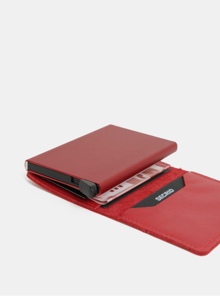 Červená kožená peněženka s pouzdrem na karty Secrid
