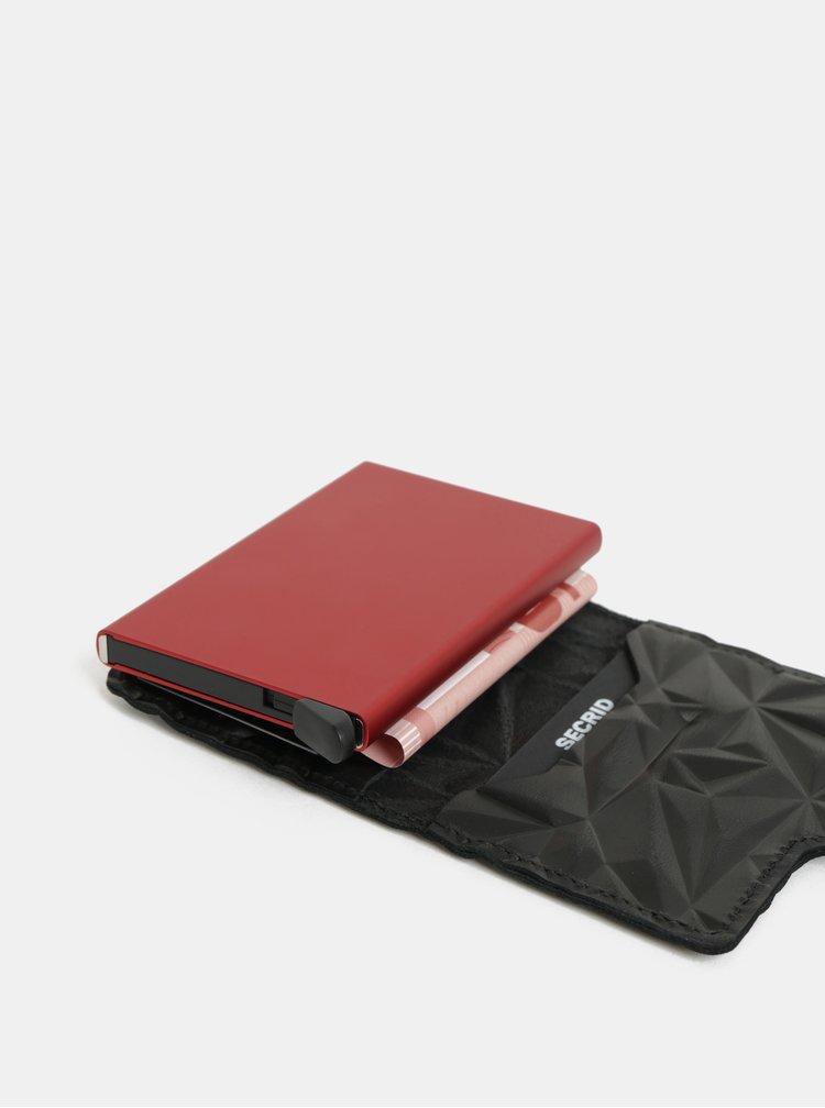 Černá kožená vzorovaná peněženka s hliníkovým pouzdrem Secrid