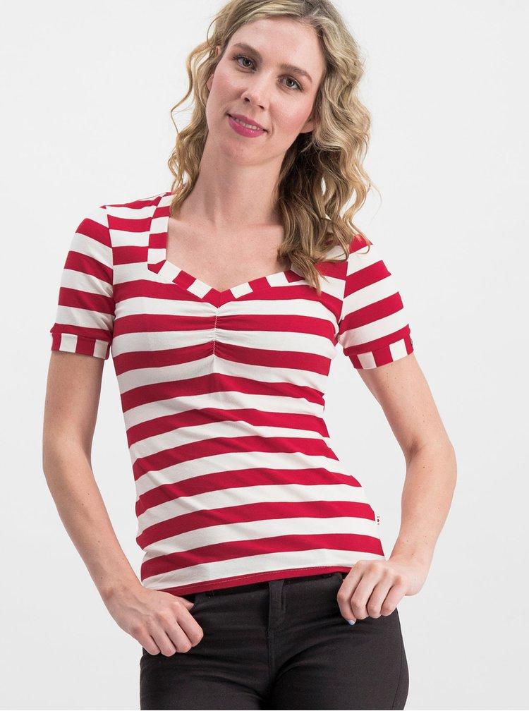 Tricou alb-rosu in dungi Blutsgeschwister Logo Stripe