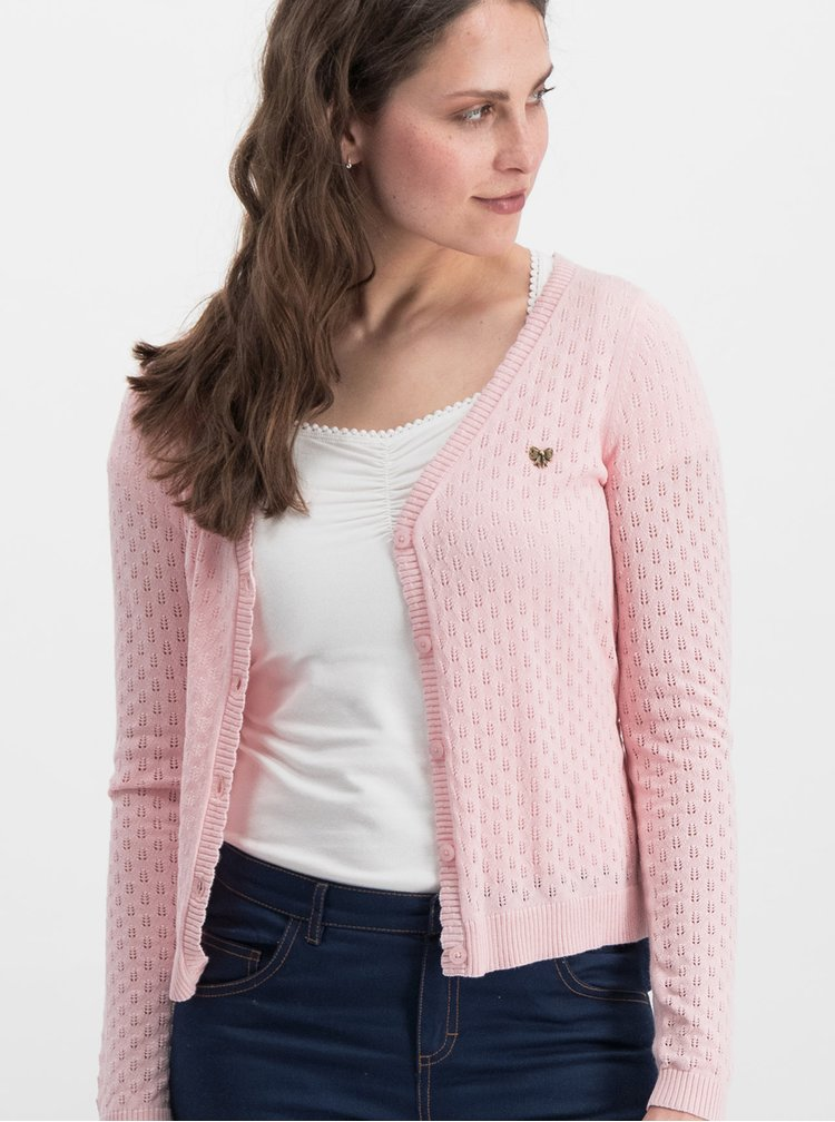 Cardigan roz cu model si cordon in talie Blutsgeschwister Logo Loving Heart
