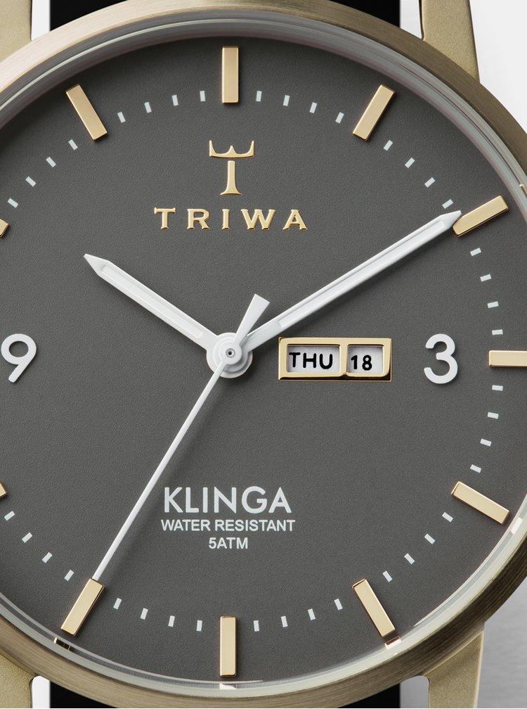Hodinky s černým koženým páskem TRIWA Klinga