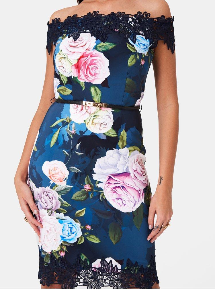 Tmavě modré květované pouzdrové šaty Paper Dolls