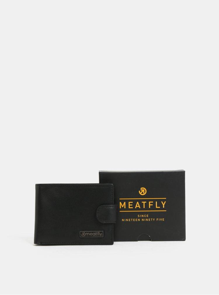 Černá pánská kožená peněženka Meatfly Riker