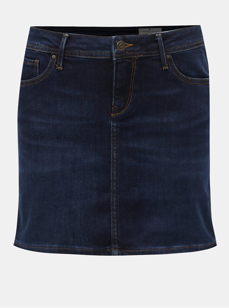 Fusta mini albastru inchis din denim Cross Jeans Martha