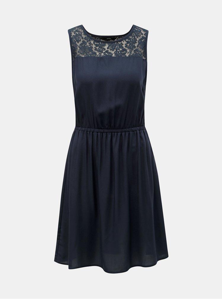 Tmavomodré šaty s čipkou VERO MODA Boca
