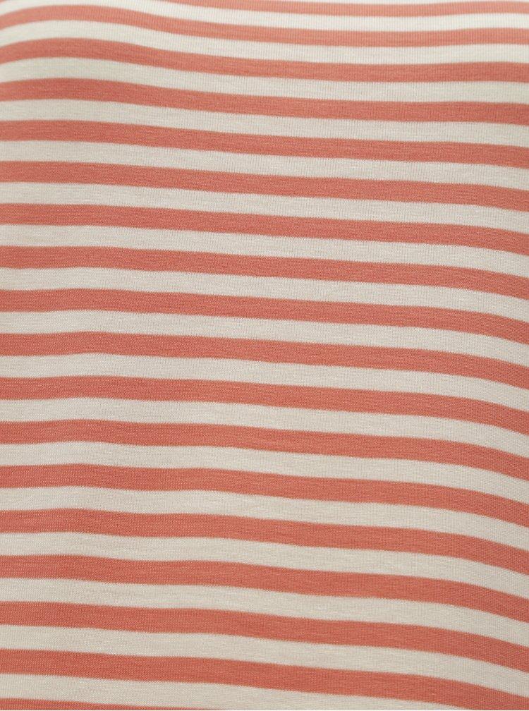 Tricou basic alb-oranj in dungi AWARE by VERO MODA Ava