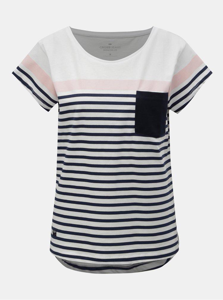 Bílé dámské pruhované tričko s kapsou Cross Jeans