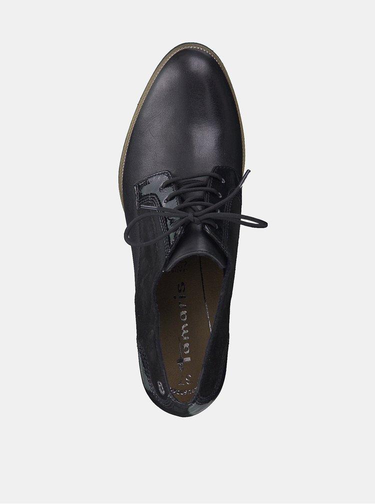 Pantofi negri din piele cu toc si detalii din piele intoarsa Tamaris Fee