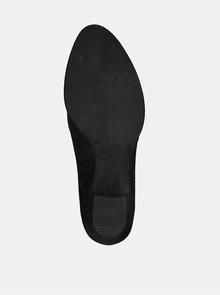 Černé kožené lodičky Tamaris Oceana