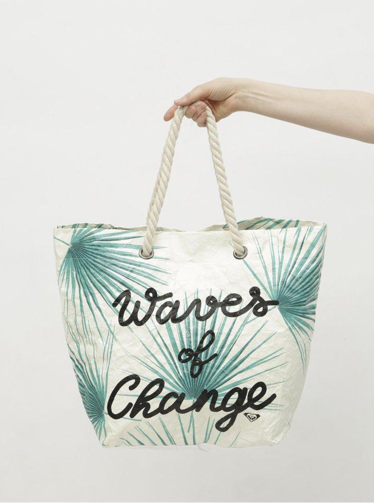 Geanta de plaja crem din hartia cu model tropical Roxy Waves of Change