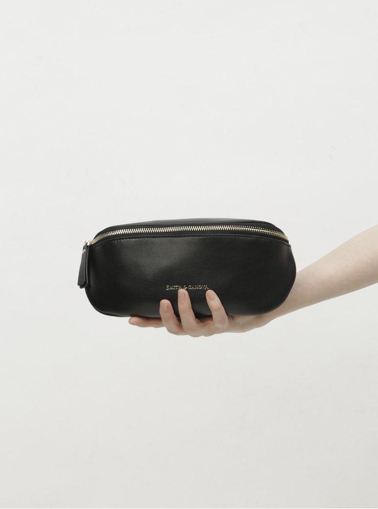Černá kožená ledvinka Smith & Canova Mapel