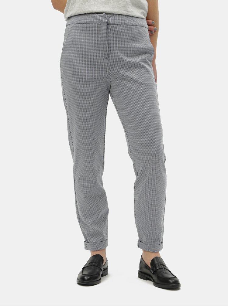 Modré vzorované kalhoty s vysokým pasem VERO MODA Toni