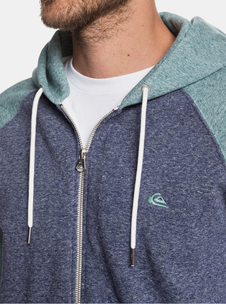 Zeleno-modrá žíhaná mikina na zip Quiksilver
