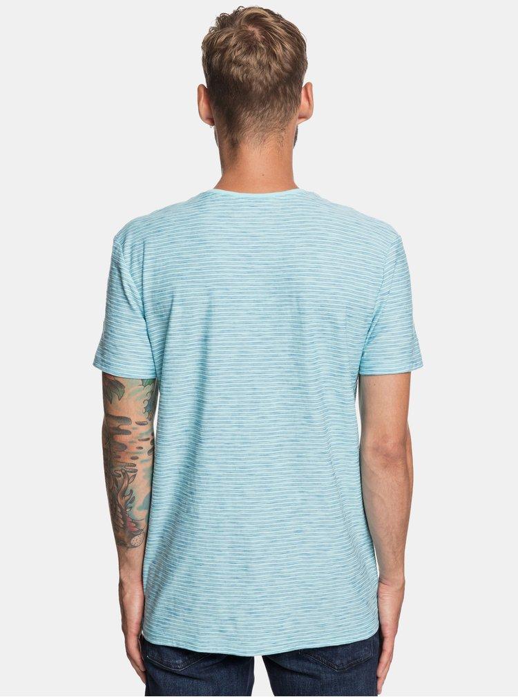 Světle modré pruhované modern fit tričko Quiksilver