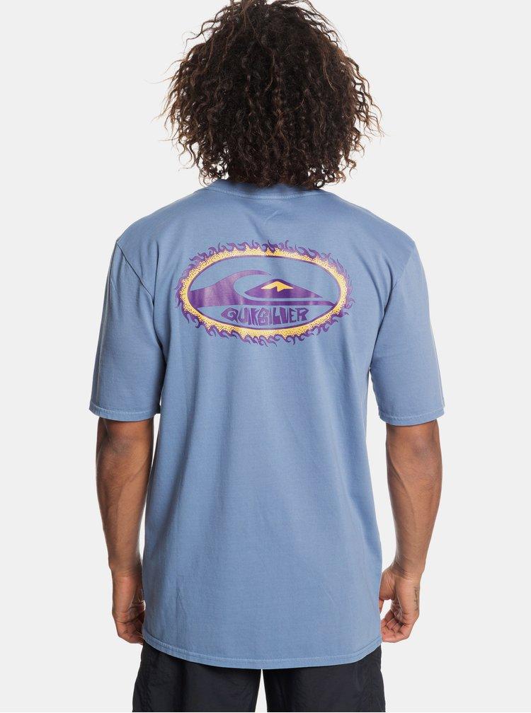 Světle modré 90´s fit tričko s potiskem na zádech Quiksilver