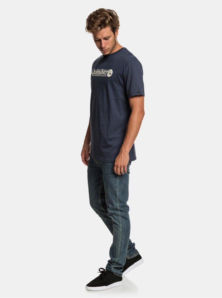 Tmavomodré regular fit tričko s potlačou Quiksilver