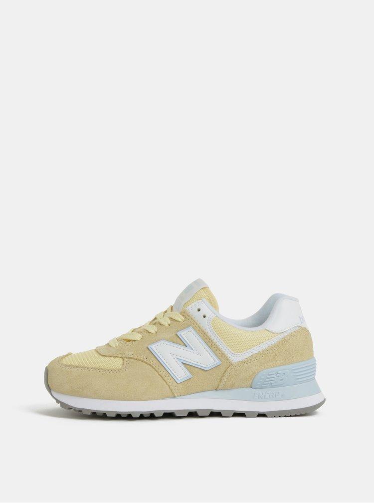 Pantofi sport galbeni de dama din piele intoarsa New Balance 574