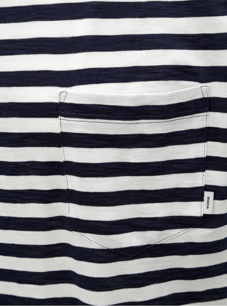 Bílo-modré pánské pruhované basic tričko s kapsou Makia Verkstad