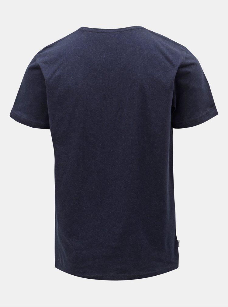 Tricou barbatesc albastru inchis cu imprimeu Makia Beacon