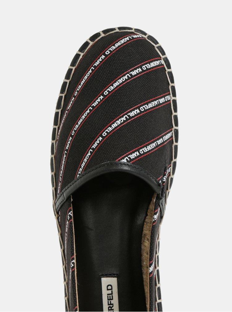 Černé espadrilky s koženými detaily KARL LAGERFELD Kamini