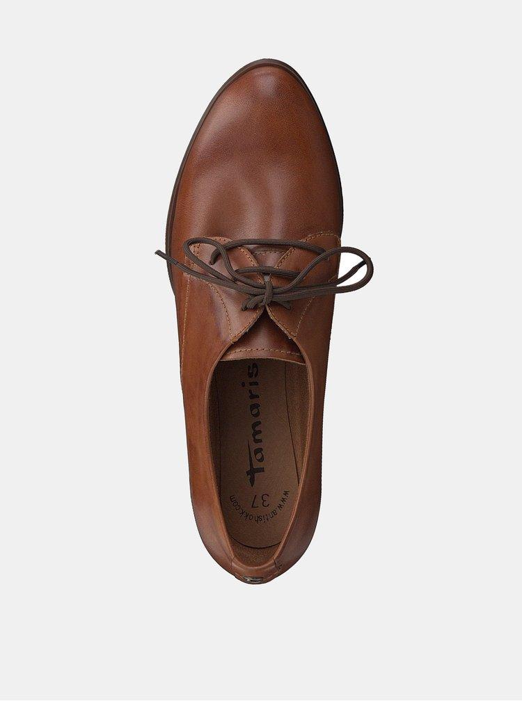 Pantofi maro din piele cu toc Tamaris Oceana