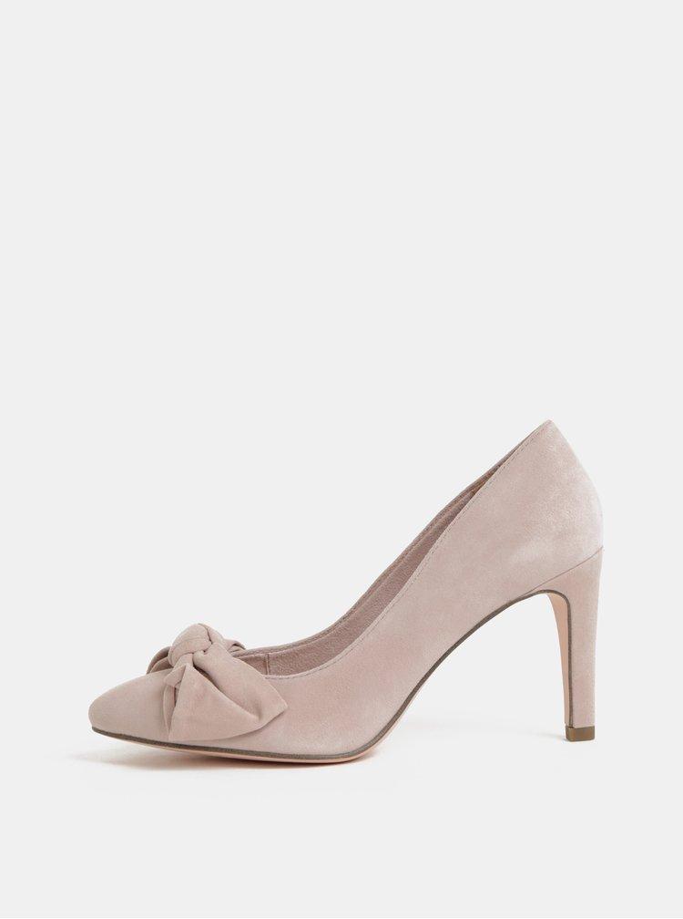 Pantofi roz deschis din piele intoarsa cu funda Tamaris Dianella