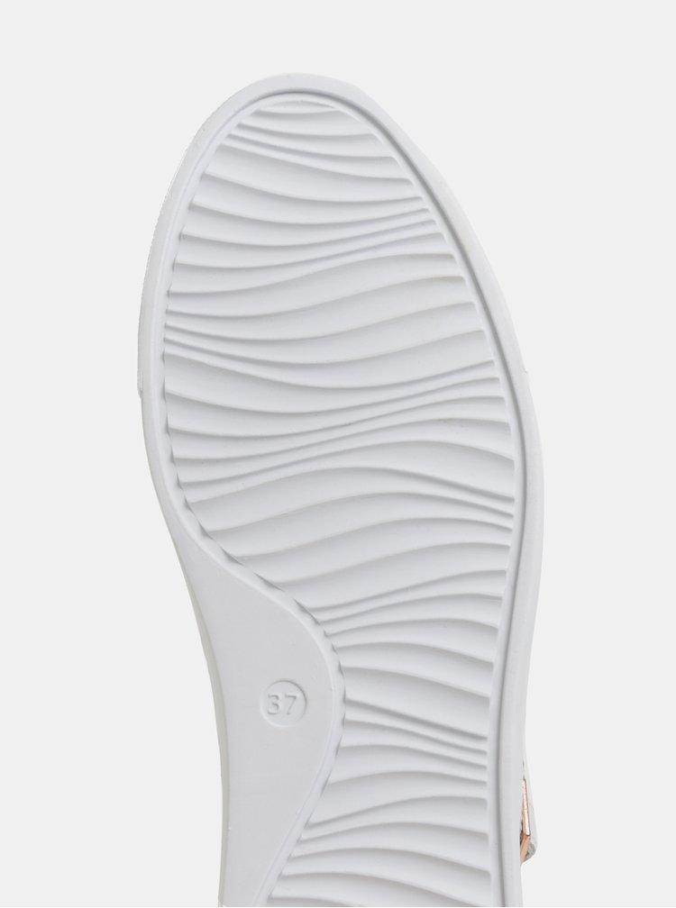 Pantofi sport albi din piele cu model si platforma Tamaris