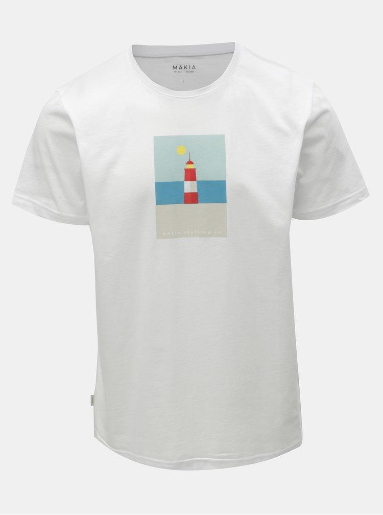 Bílé pánské tričko s potiskem Makia Spot
