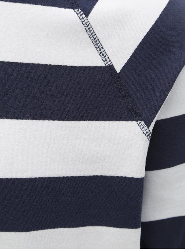 Tricou barbatesc alb-albastru in dungi Makia Keel