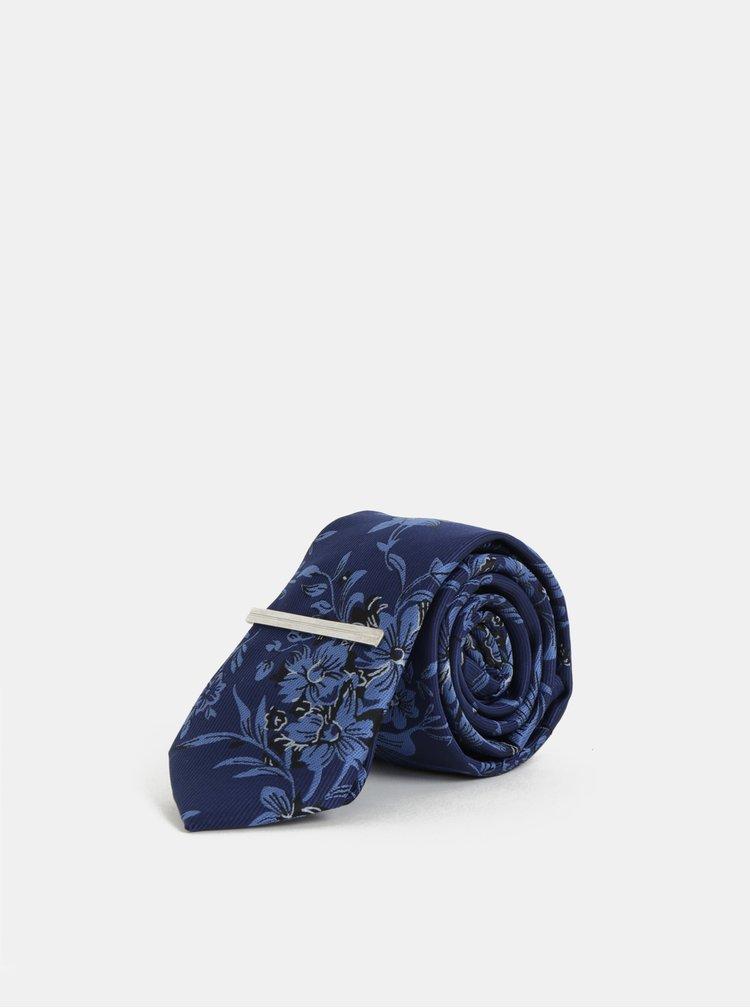Tmavě modrá květovaná slim kravata se sponou Burton Menswear London