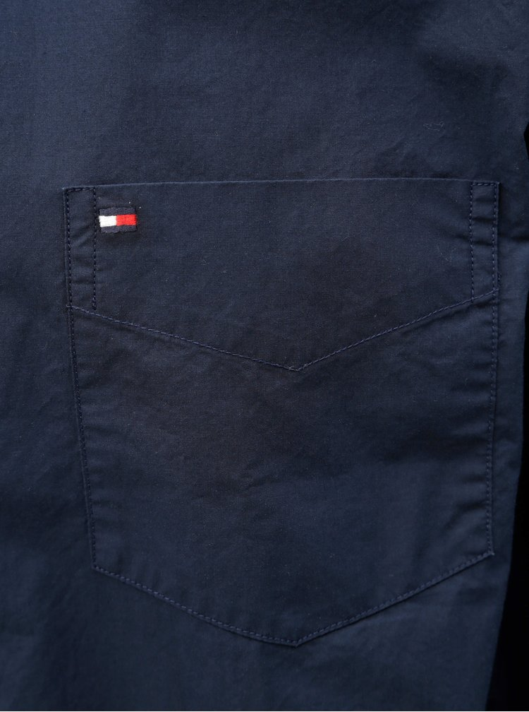 Tmavě modrá pánská regular fit košile s kapsou Tommy Hilfiger