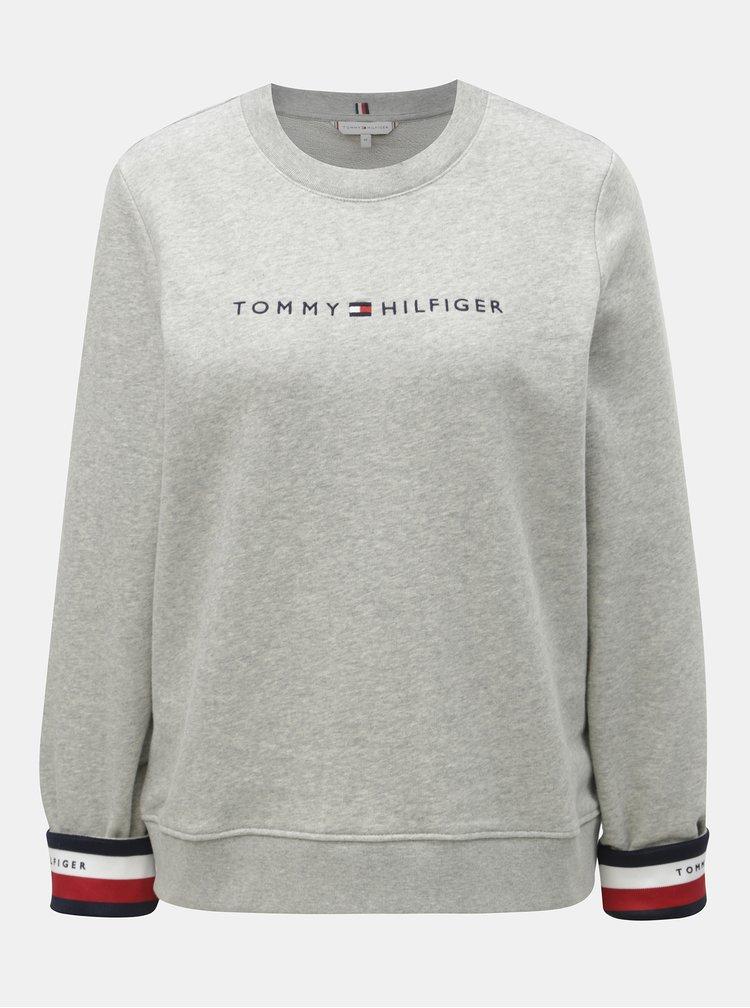 Světle šedá dámská žíhaná mikina Tommy Hilfiger