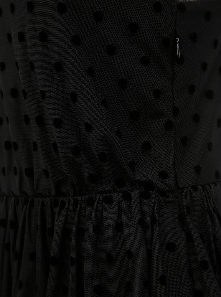 Černé puntíkované tylové maxišaty VILA Mindy