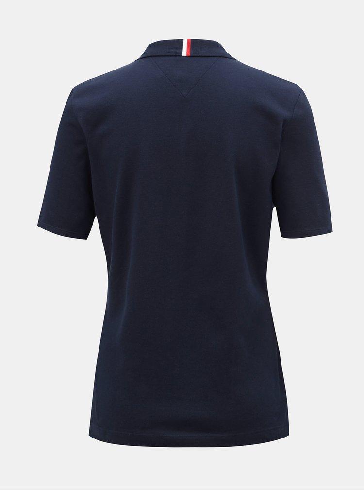 Tmavě modré dámské basic polo tričko Tommy Hilfiger Essential