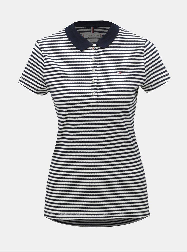 Bílo-modré dámské pruhované slim fit polo tričko Tommy Hilfiger Bunker