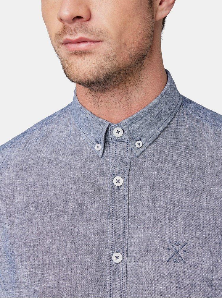 Modrá pánska ľanová melírovaná košeľa Tom Tailor