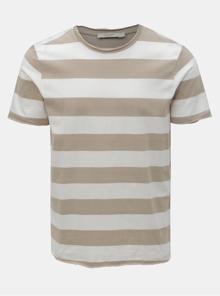 Bielo–hnedé pruhované basic tričko Jack & Jones Matrick