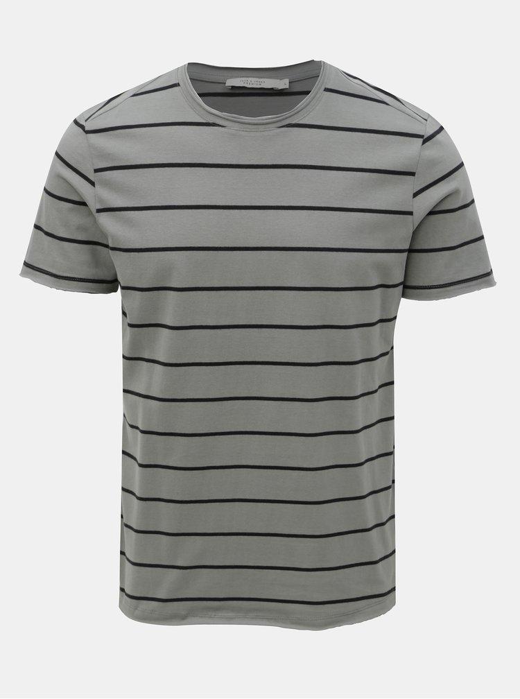 Šedé pruhované basic tričko Jack & Jones Matrick