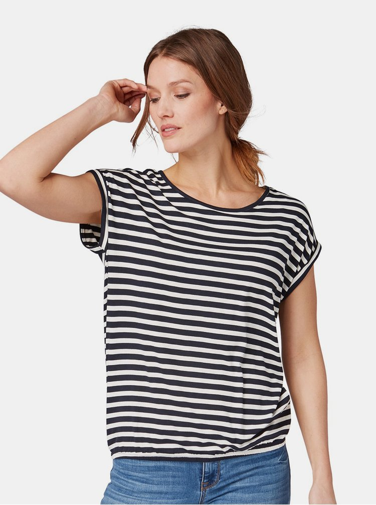 Bílo-modré dámské pruhované tričko Tom Tailor