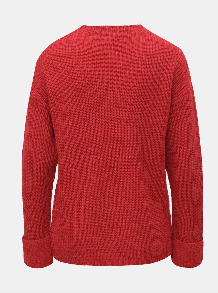 Červený sveter so stojačikom Dorothy Perkins Petite