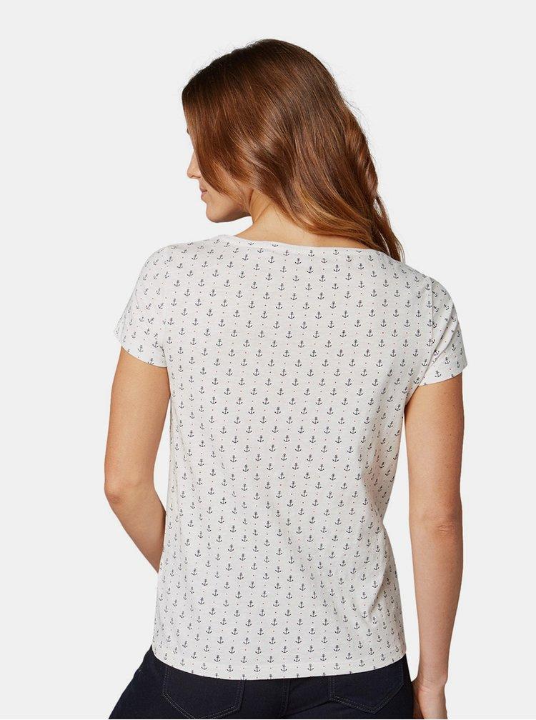 Bílé dámské vzorované tričko Tom Tailor