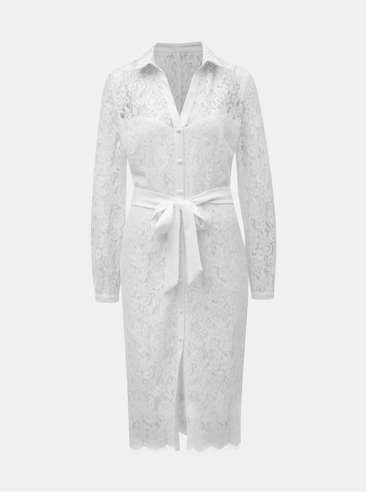 Bílé krajkové košilové šaty Paper Dolls