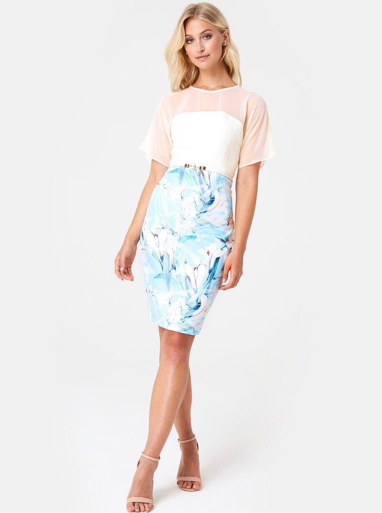 Bílo-modré květované pouzdrové šaty Paper Dolls