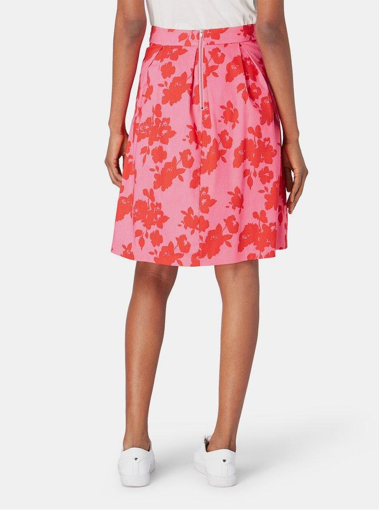 Růžová květovaná sukně Tom Tailor