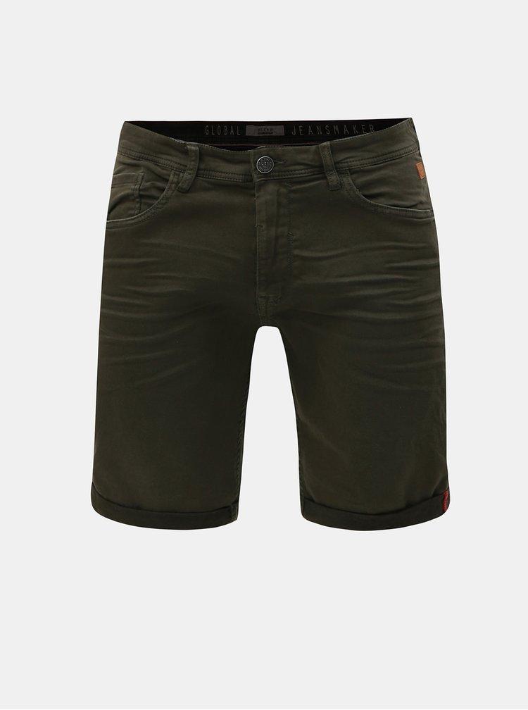 Tmavě zelené džínové slim fit kraťasy Blend